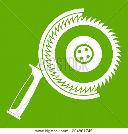 Circle saw icon white isolated on green background. Vector illustration