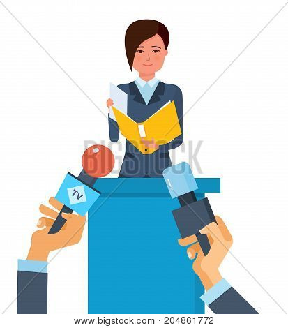 Press conference concept. Communications and live dialogue, interviews, questions, broadcasts, news feeds, media. Reporters journalists take interview at businesswoman. Vector illustration.