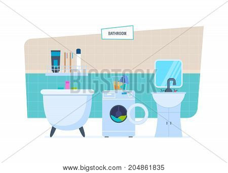 Modern interior of the bathroom, with household appliances, furniture, household items, room architecture, with accessories, toiletries. Vector illustration isolated.