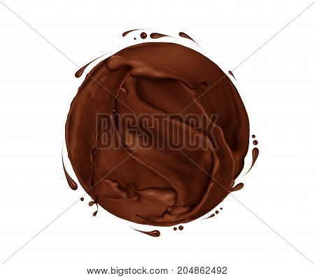 Round sphere made of chocolate splashes on white background