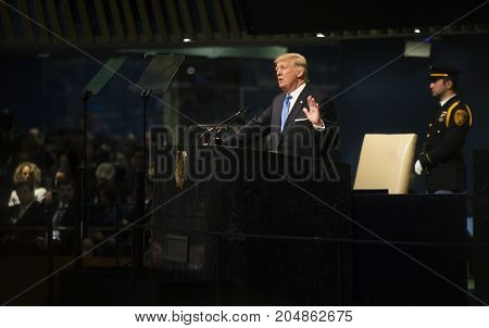 NEW YORK USA - Sep 19 2017: President of the United States Donald Trump speaks at the general political discussion during the 72th session of the UN Assembly in New York