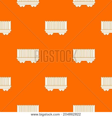 Cargo wagon pattern repeat seamless in orange color for any design. Vector geometric illustration