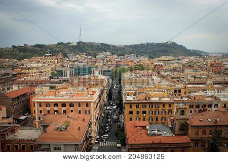 Rome city view from Vittorio Emanuele II monument, Italy