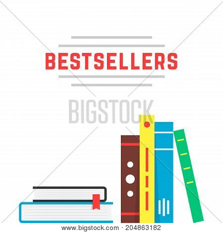 bestseller icon with bookshelf. concept of best seller ad, hobby bibliography, brochure present, educate, textbook, novel. flat style trend modern brand design vector illustration on white background