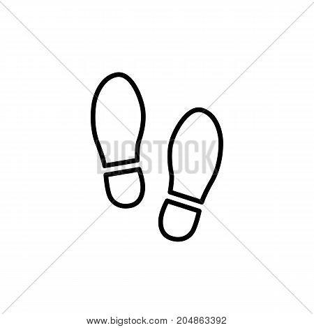 thin line shoeprint icon on white background