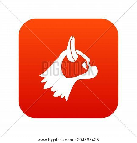 Pug dog icon digital red for any design isolated on white vector illustration