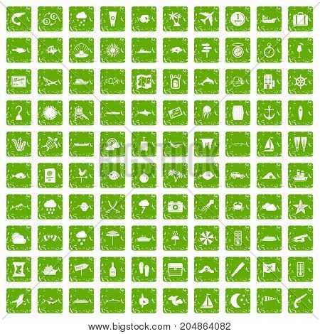 100 marine environment icons set in grunge style green color isolated on white background vector illustration