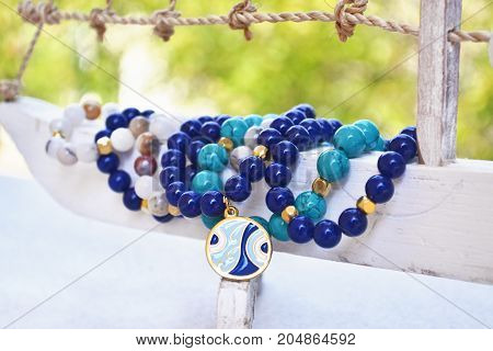 blue agate gemstone bracelets - greek jewelry with evil eye - fashion accessories advertisement