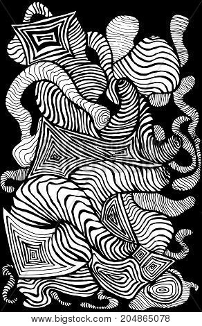 Black white decorative abstract pattern many lines waves sketch style. Psychedelic stylish card. Vector hand drawn illustration.