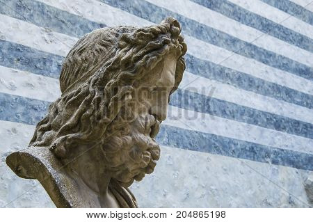 Bust of Zeus king of the gods with striped background