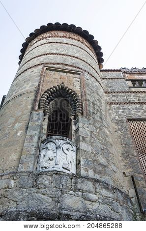 Tower detail of Rocchetta Mattei Castle placed in Italy