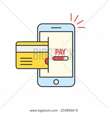 red thin line phone like mobile payment. concept of debit, personal deposit, m-commerce, customer, retail, wireless. flat style trend modern logotype design vector illustration on white background