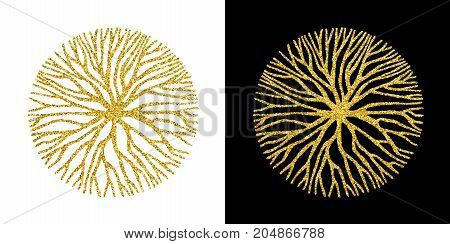 Abstract gold glitter circle shape illustration of tree branches or roots for concept design creative nature art. EPS10 vector.