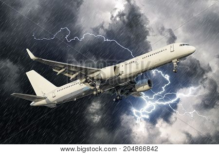 White Passenger Airplane Takes Off During A Thunderstorm Lightning Strike Of Rain, Bad Weather