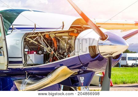 Turboprop Airplane Aircraft A Propeller Chrome Luster With Open Bonnet Repair, Engine Check