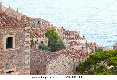 the castle of Monemvasia Laconia Peloponnese Greece