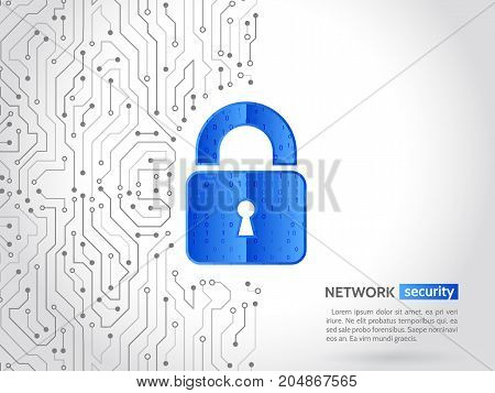 Abstract high tech circuit board. Technology data protection concept. System privacy network security. Digital padlock vector illustration.