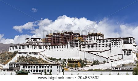 Famous Potala palace. World Heritage site former Dalai Lama residence in Lhasa - Tibet