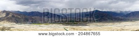 Typical landscape of Tibet - Panoramic view of lhassa river - Tibet