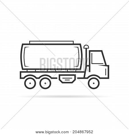 thin line tank vehicle shall. concept of van, production, oilman, store, extraction, wagon, expedition, automotive. flat outline style trend black logo design vector illustration on white background