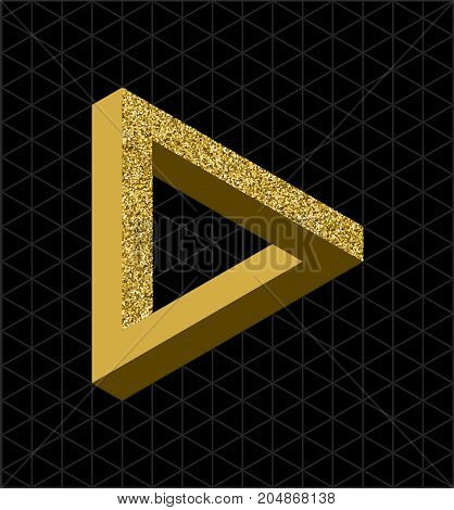 Abstract gold glitter impossible triangle sign retro optical effect shape with isometric grid background. EPS10 vector file.