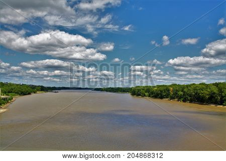 Missouri River on the banks of Saint Charles Missouri