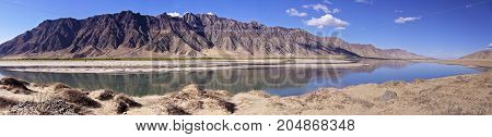 Typical landscape of Tibet - Panoramic view of Holy Brahmaputra river and mountain landscape - Tibet
