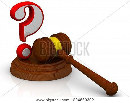 Legal issues. Judge's hammer and red question mark on white surface. Isolated. 3D Illustration