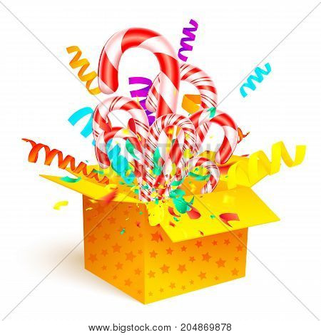 Christmas Sweet Gift Isolated On White Background. Open 3D Yellow Box With Candy Cane And Paper Conf
