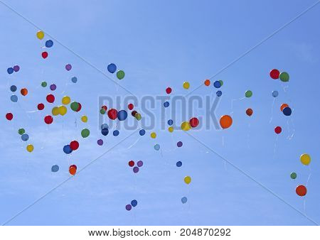 Colorful Balloons in The Sky. Flying Balloons.