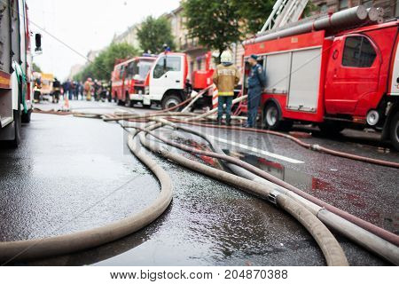 Fire hoses on the background of fire trucks and firefighters at work.