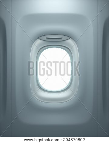 3D illustration. View from inside the airplane through the open window. Clipping path included.