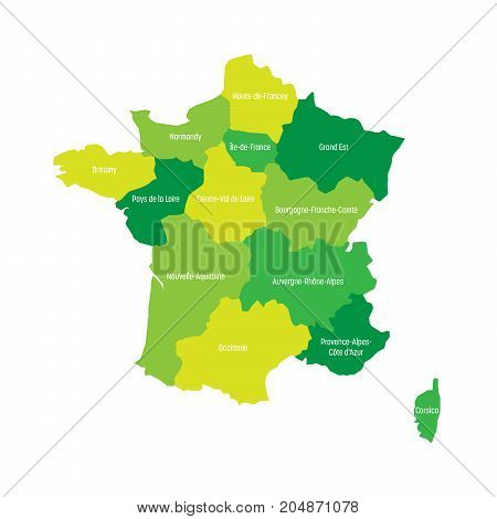 Map of France divided into 13 administrative metropolitan regions, since 2016. Four shades of green. Vector illustration.