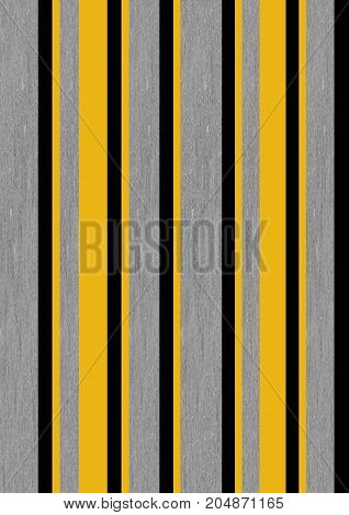 An illustration of stripes that reminds one of grey flannel with mustard yellow and black accents