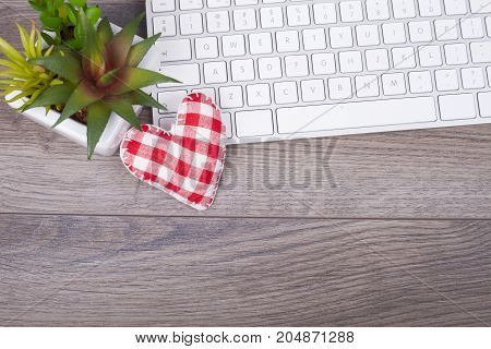 Working Table With A Keyboard An Heart