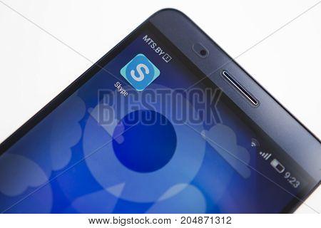 Minsk Belarus - September 17 2017: Skype application icon on smartphone screen close-up. Skype app
