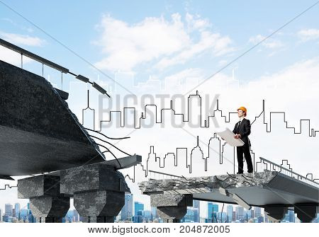 Confident engineer in helmet keeping drawing in hands while standing on broken bridge with sketched cityscape on background. 3D rendering.