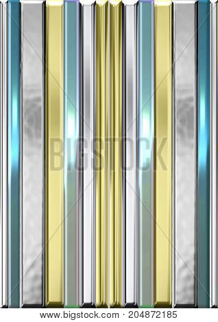 An illustration of metallic stripes in the hues of silver gold and light blue