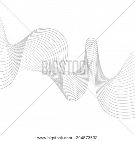Smooth grey waves. Abstract vector lines. Blend effect