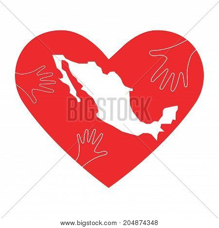 Vector Illustration: helping hands, heart and Mexico map silhouette. Great as donate, love or helping hand icon. Support for volunteering work and relief after Earthquake in Mexico city.