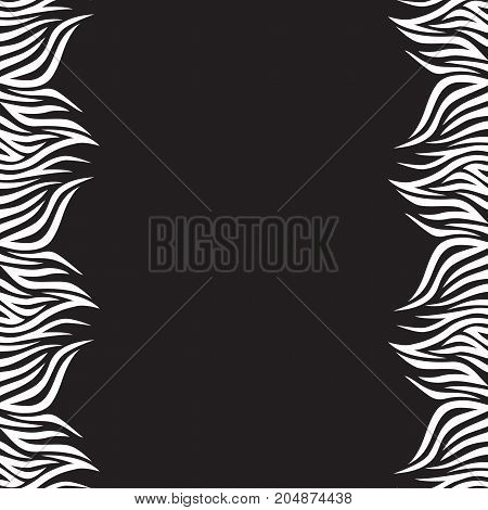 Black and white vector background with stripes. Boho style. Frame of graphic leaves. Creative design.