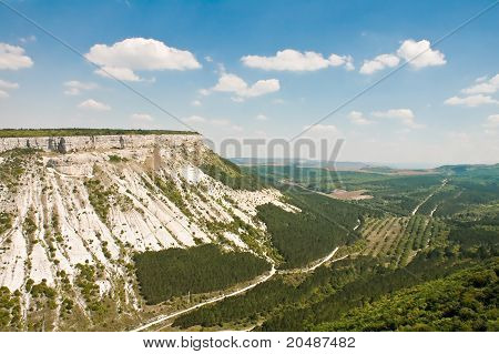Beautiful Landscape In Crimea Mountain And Valley With A Road