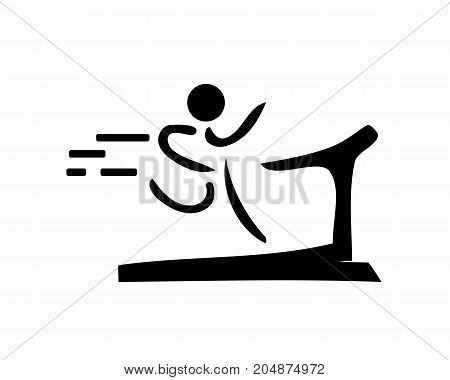 person running on treadmill illustration, icon design, isolated on white background.