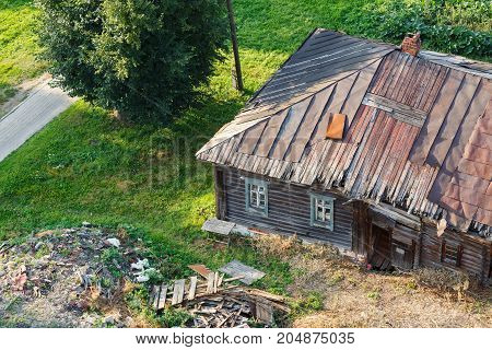 Old wooden house on the territory of Rizopolozhensky monastery. Suzdal, Golden ring, Russia