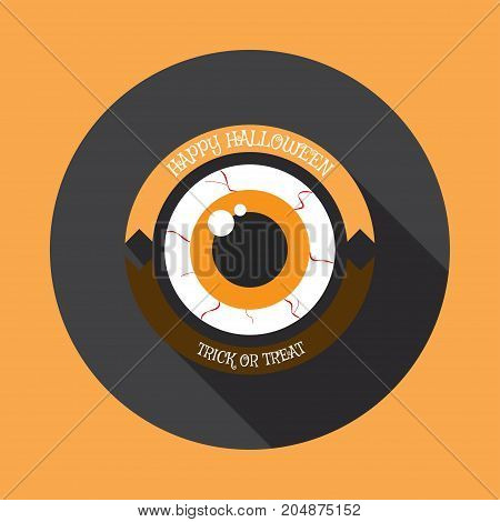 Vector isolated icon of monster eye with yellow and brown stripes and shadow.