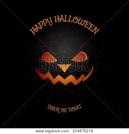 Vector poster to Happy Halloween holiday on the dark gray background with pattern of cracked ground.