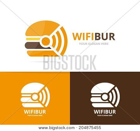 Vector burger and wifi logo combination. Hamburger and signal symbol or icon. Unique fastfood and radio, internet logotype design template.