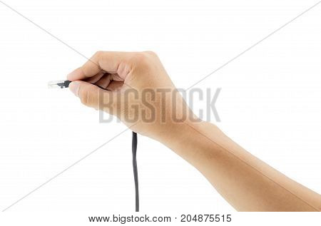 A Lan Connector In Hand Isolated On White Background.