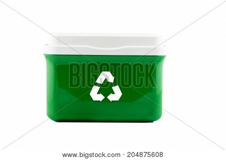 Box plastic with recycle sign isolated on white background - clipping part.