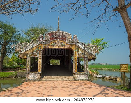 Hue, Vietnam - September 13 2017: Beautiful temple with a blue sky, located in Hue, Vietnam.